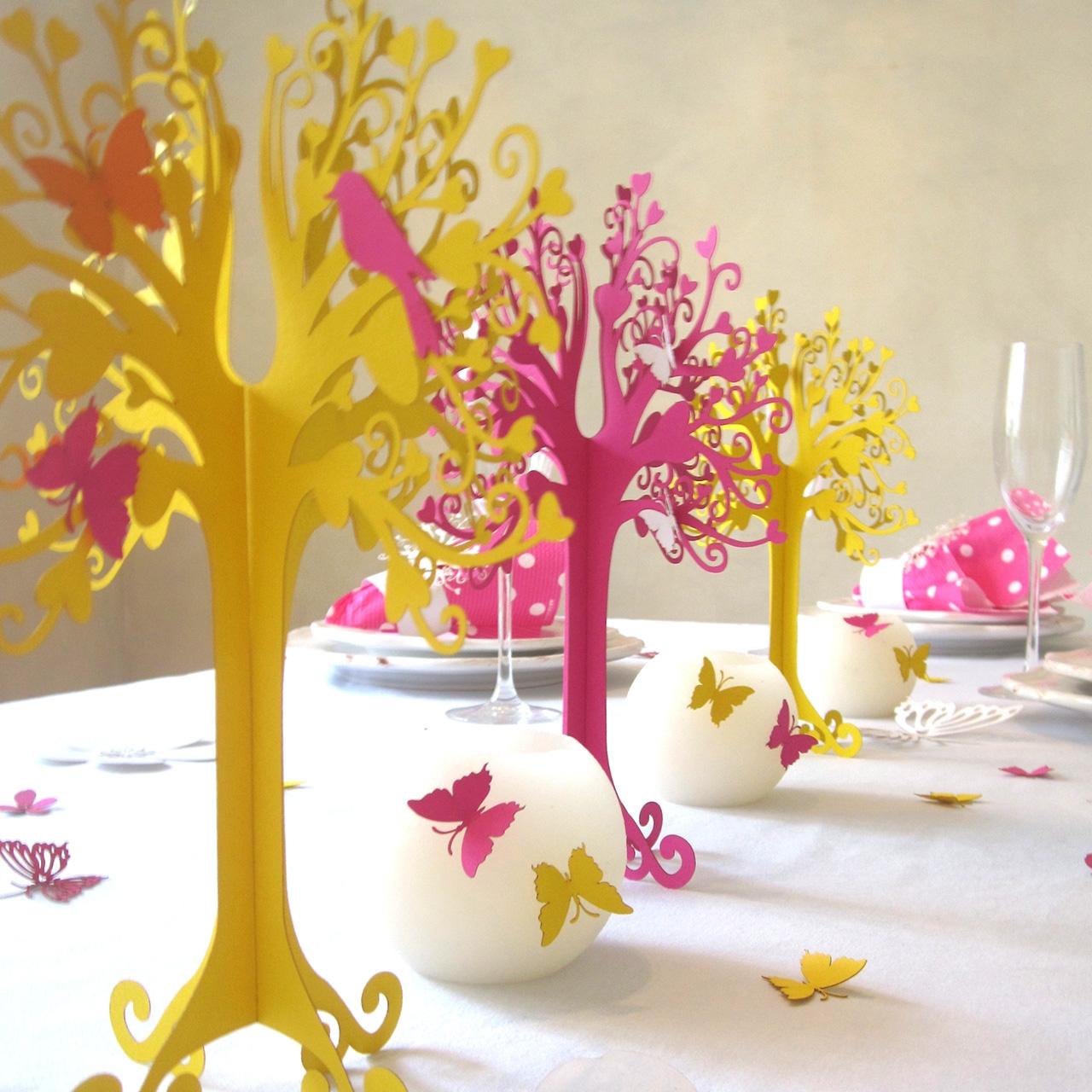 Tischdeko Herzbaum Gelb Pink Herzbaum Tischdeko Baume