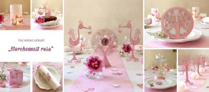 tischdeko geburt m dchen rosa tischdeko geschenke. Black Bedroom Furniture Sets. Home Design Ideas