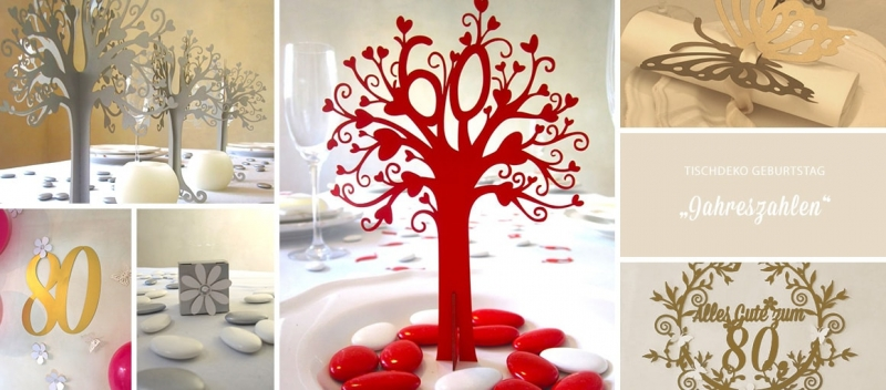 Tischdeko Geburtstag Jahreszahlen Tischdeko Geschenke