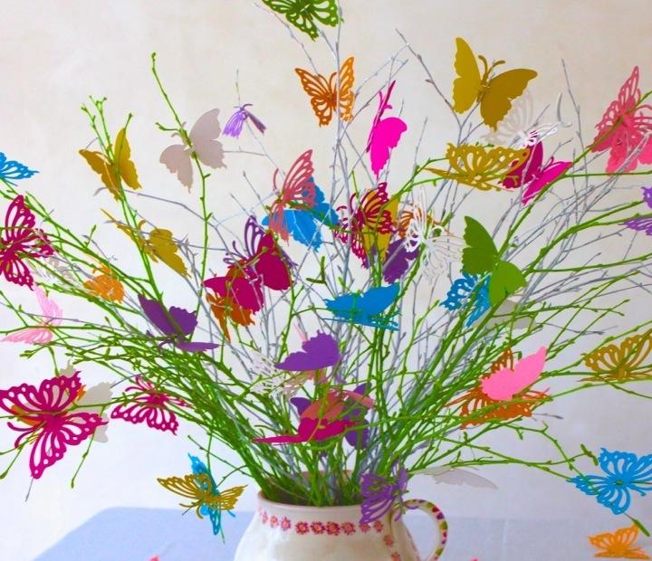 Tischdeko Hochzeitsstrauss Bunte Schmetterlinge Tischdeko Hochzeit