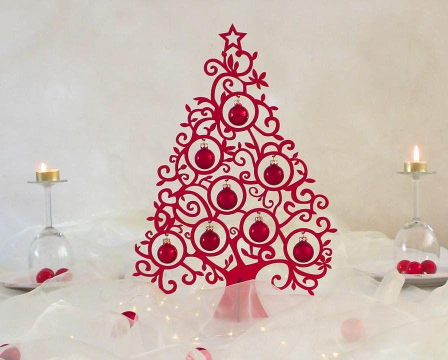 Weihnachtsdeko Christbaum Rot Mit 8 Kugeln Aus Glas Baume