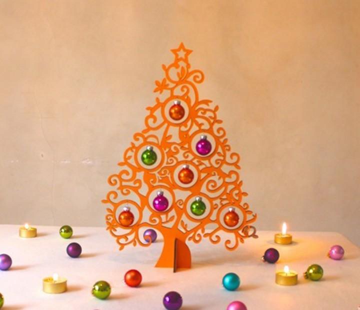 Weihnachtsdeko Christbaum Orange Mit 8 Kugeln Aus Glas