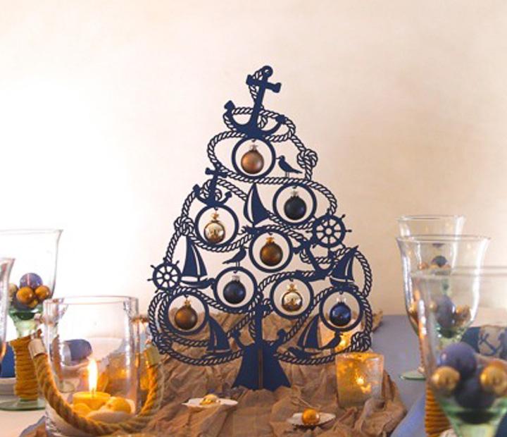 weihnachtsdeko christbaum maritim mit 8 kugeln aus glas weihnachtsb ume geschenke. Black Bedroom Furniture Sets. Home Design Ideas