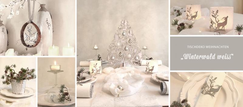 Tischdeko weihnachten weiß  Tischdekoration Weihnachten Winterwald weiss | tischdeko-geschenke